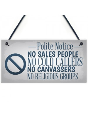 No Cold Callers Sales Front Door Stop Sign Polite Notice Plaque