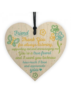 Friendship Sign Inspirational Shabby Chic Wooden Heart Plaque