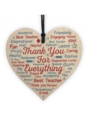 Gift For Teacher Teaching Assistant Nursery Wood Heart Word Art