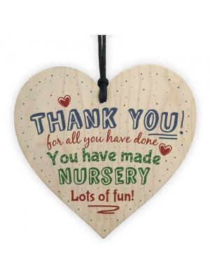 Thank You Nursery Teacher Gift Wooden Heart Sign Leaving Present