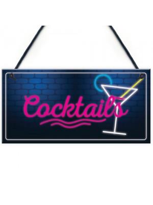 Cocktail Neon Effect Hanging Plaque Home Bar Pub Sign Friendship