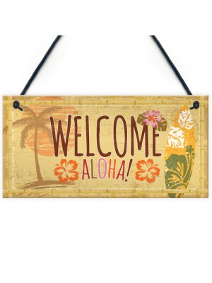 Tiki Bar Welcome Hanging Wall Plaque Garden Home Bar Sign