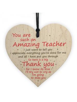 Thank You Teacher Gift Heart Leaving School Nursery Teaching
