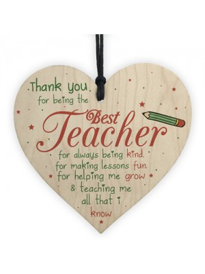 Thank You Best Teacher Gift Heart Best Nursery Gift For Children