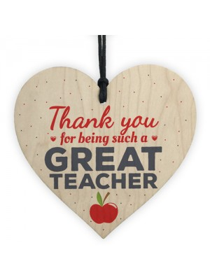 Thank You Teacher Gift Wooden Heart Teaching Assistant Leaving