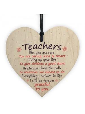 Thank You Gift Teacher Gifts Wooden Heart Leaving Nursery School