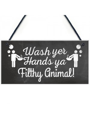 Bathroom Toilet Sign Decor Funny Wash Your Hands Humouros Wall