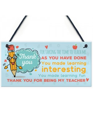 Gift For Teacher Thank You Teaching Assistant Nursery Gift Sign