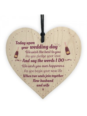 Wedding Gift Mr and Mrs Marriage Present Wooden Heart Plaque