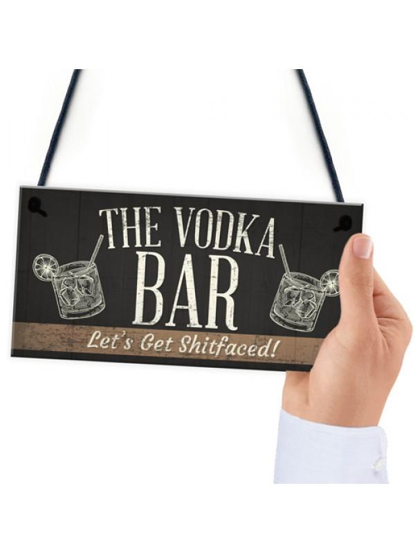 The Vodka Bar Novelty Man Cave Home Bar Pub Plaque Alcohol Gift