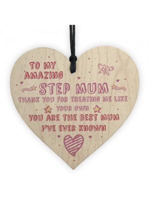 Handmade Amazing Step Mum Heart Plaque Gifts For Mum Friend
