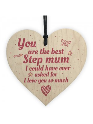 Handmade Best Stepmum Wood Hanging Plaque Gifts For Mum
