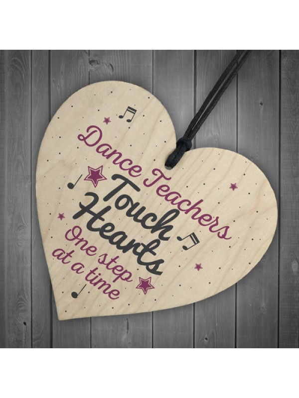 Handmade Wooden Heart Thank You Dance Teacher Gift Birthday