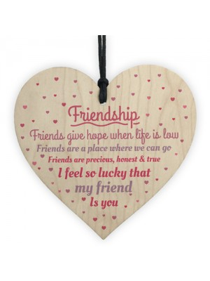 Handmade Friendship Sign Best Friend Plaque Wooden Heart Gift