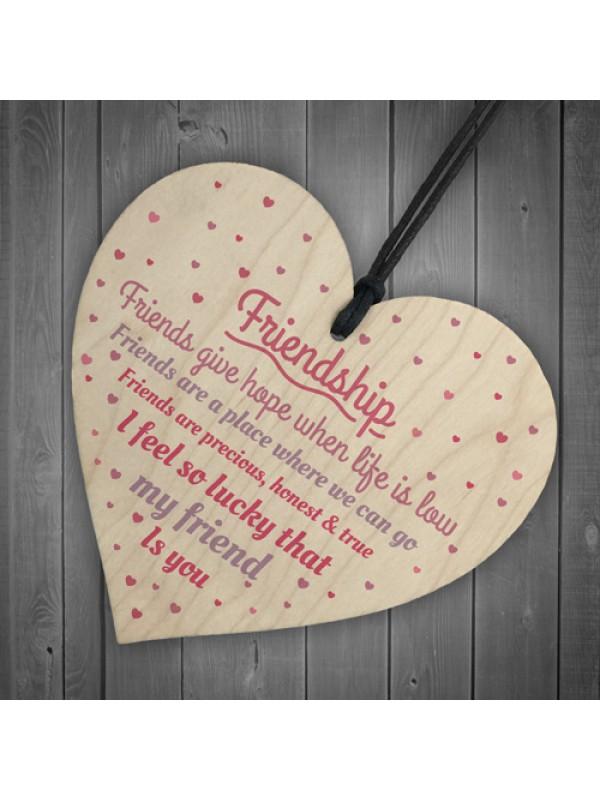 Handmade Friendship Sign Best Friend Plaque Wooden Heart Gift