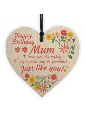 Handmade Happy Birthday Mum Wooden Heart Novelty Birthday Card