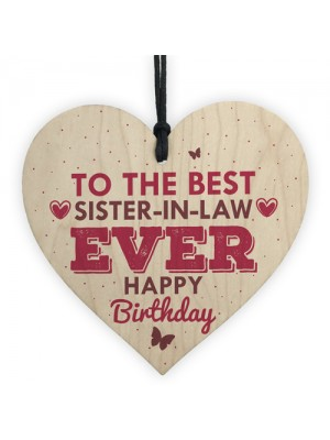 Handmade Sister In Law Wooden Heart Chic Birthday Gifts For Her