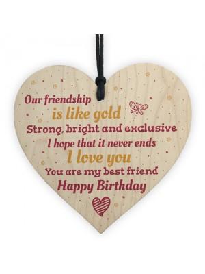 Handmade Happy Birthday Friendship Gift Wood Hanging Heart Sign