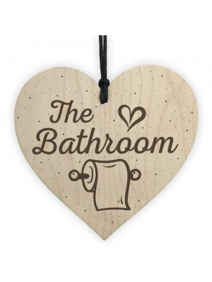 The Bathroom Shabby Chic Handmade Wooden Heart Toilet Sign