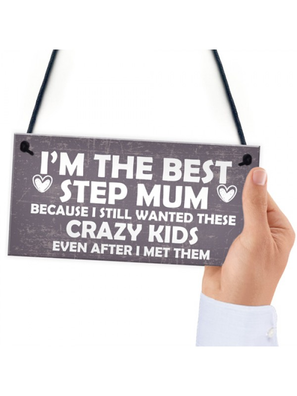 Best Stepmum Crazy Kids Novelty Hanging Plaque Gifts For Mum