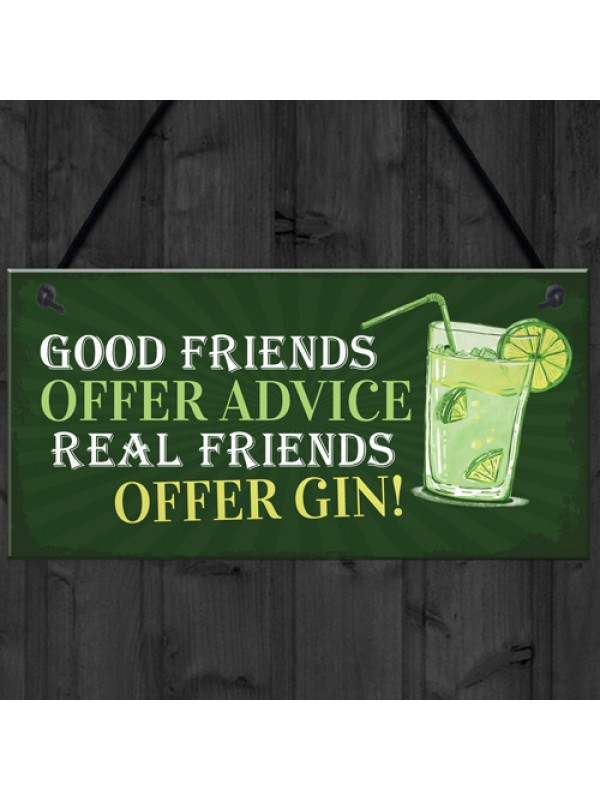 Friendship Gin Sign Garden Plaque Shed Home Bar Pub Plaque Gift
