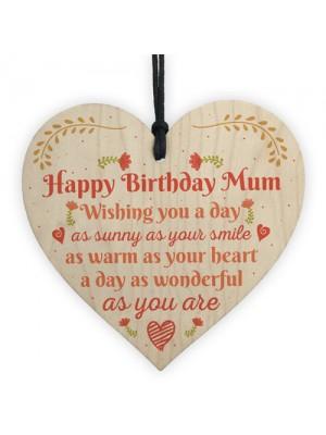 Gift For Her Handmade Happy Birthday Mum Wooden Heart Sign