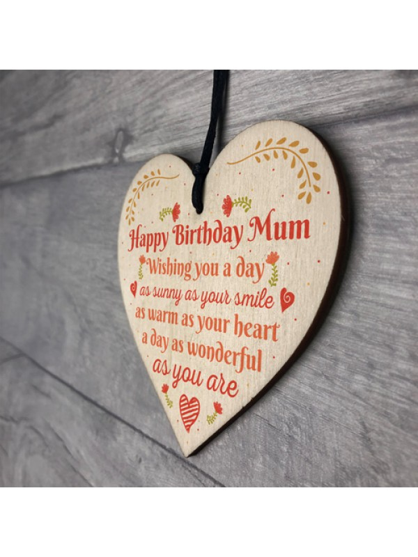 Gift For Her Handmade Happy Birthday Mum Wooden Heart Sign