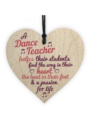 Handmade Wooden Heart Thank You Dance Teacher Gift Special