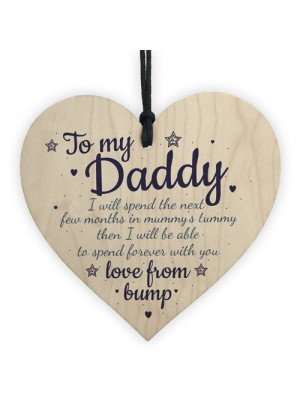 Handmade Wooden Heart From Bump Gifts Dad To Be Father Baby