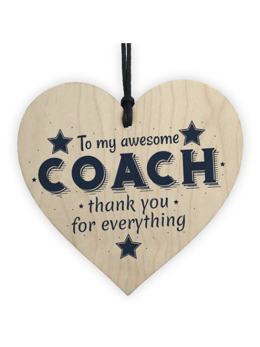 Best Football Gymnastics Dance Coach Gift Wooden Heart Thank You
