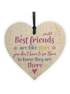 Handmade Best Friends Are Like Stars Wooden Heart Plaque Gift