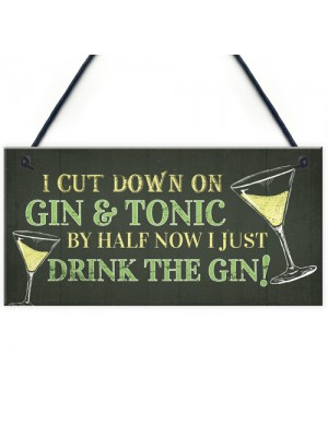Novelty Gin & Tonic Hanging Sign Plaque Friendship Gift Home Bar