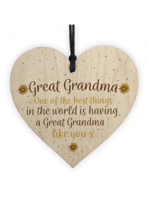 Great Grandma Gift Wooden Heart Granparent Birthday Gift For Her