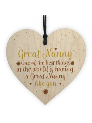 Great Nanny Gift Wooden Heart Granparent Birthday Gift For Her