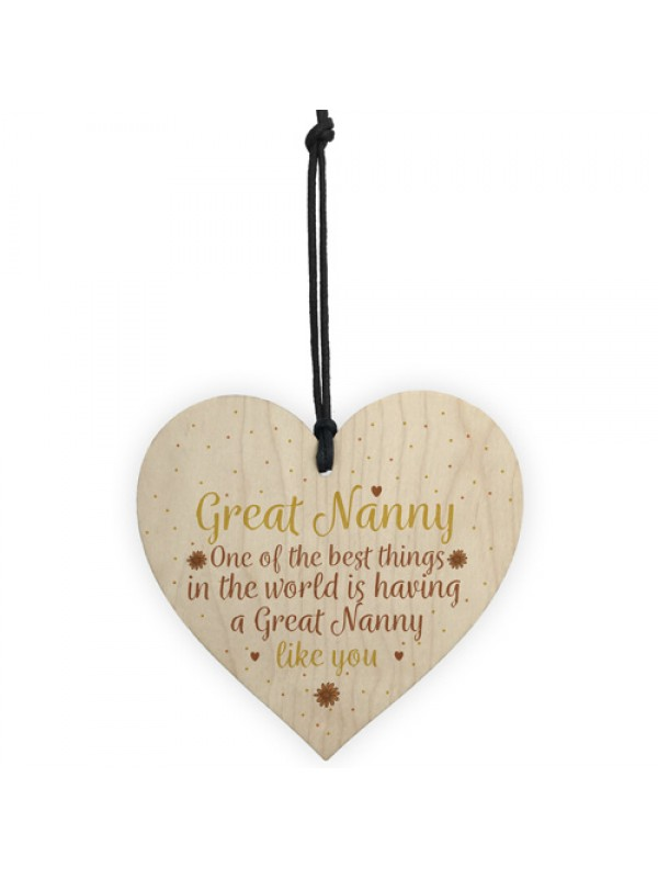 Great Nanny Gift Wooden Heart Granparent Birthday For Her
