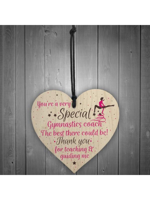 Gymnastics Gymnast Teacher Great Coach Wooden Heart Thank You