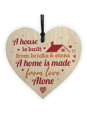 Handmade Wooden Heart Plaque Gift for New Home House Warming