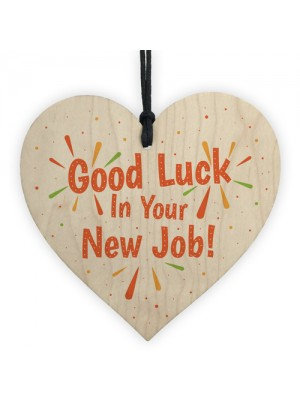 Colleague Leaving Gift Good Luck New Job Wood Heart Gift Plaque