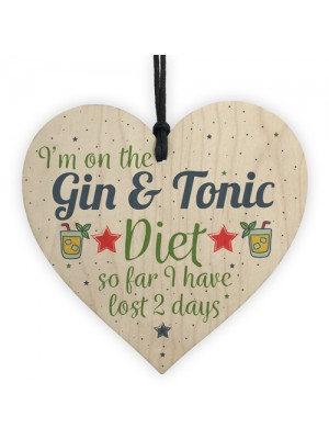 Gin & Tonic Gift Wood Heart Plaque Gin Sign House Warming Gift