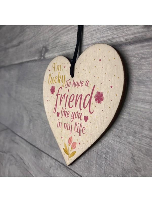 Friendship Gift Sign Best Friend Plaque Shabby Chic Wooden Heart