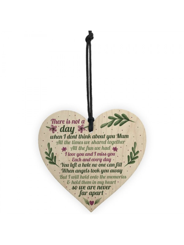 Mum Memorial Gift Grave Plaque Tribute Sign Wooden Heart Mum
