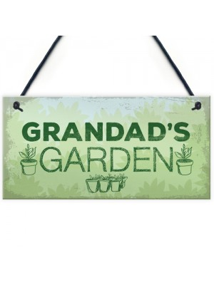 Grandads Garden Hanging Summer House Shed Sign Dad Birthday Gift