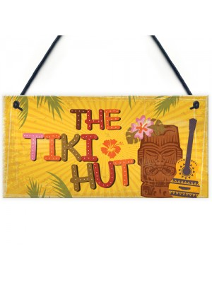 Tiki Hut Hanging Home Bar Pub Kitchen Plaque Alcohol Sign Gift