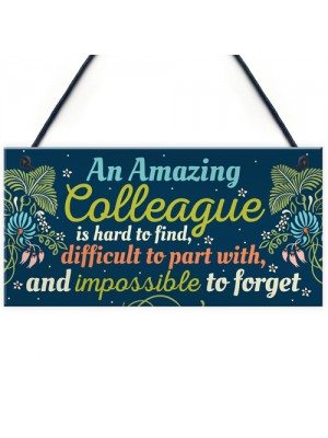 Amazing Colleague Gift Hanging Plaque Friendship Work Thank You