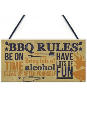 BBQ Rules Wall Plaque Garden Pub Barbecue Alcohol Friendship