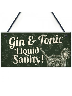Gin & Tonic Novelty Alcohol Gin Plaque Man Cave Home Bar Sign