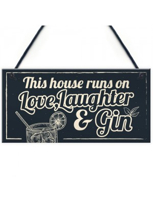 Fun Laughter Gin Kitchen Plaque Alcohol Home Bar Pub Sign Gifts