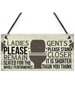 Bathroom Signs Toilet Door Wall Plaques Men Ladies Shabby Chic