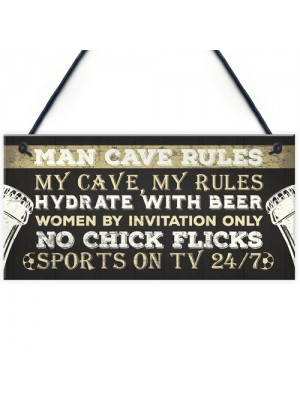 Man Cave Rules Funny Plaque Games Boys Room Beer Sign Gifts