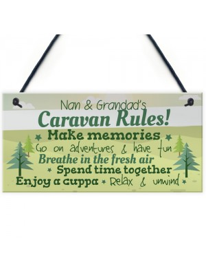 Caravan Plaque Novelty Chic Camping Holiday Sign Nan Grandad
